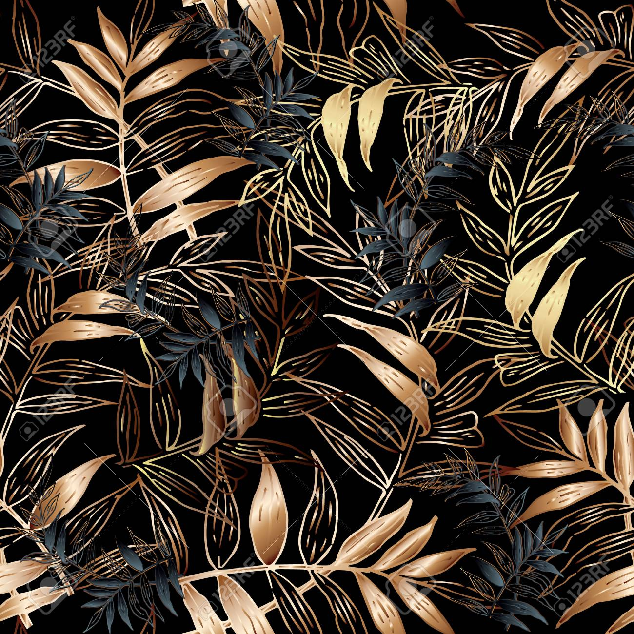 Leafy Vector Seamless Pattern Floral Black Background Wallpaper