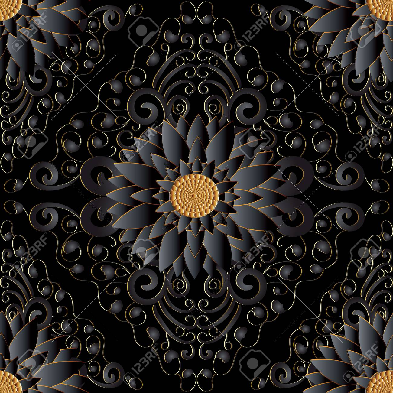 Black 3d Flowers Seamless Pattern Vector Dark Black Background