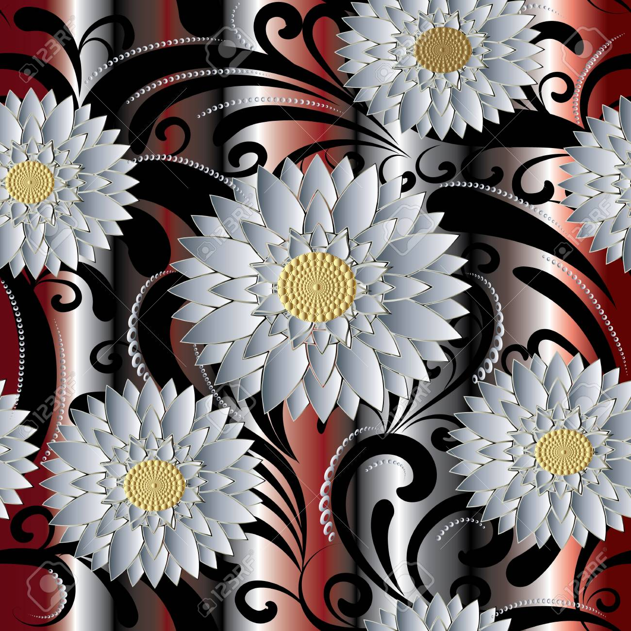 White 3d Flowers Seamless Pattern Vector Floral Background