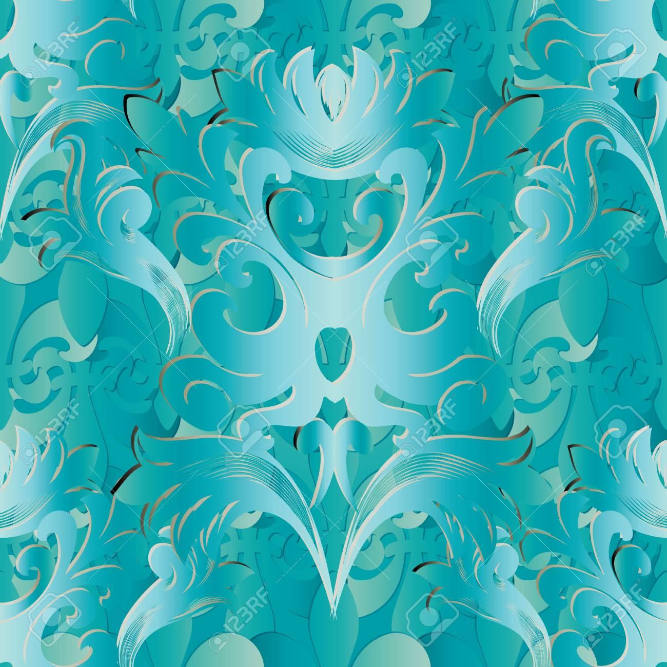 Light Blue 3d Baroque Seamless Pattern Vector Floral Background