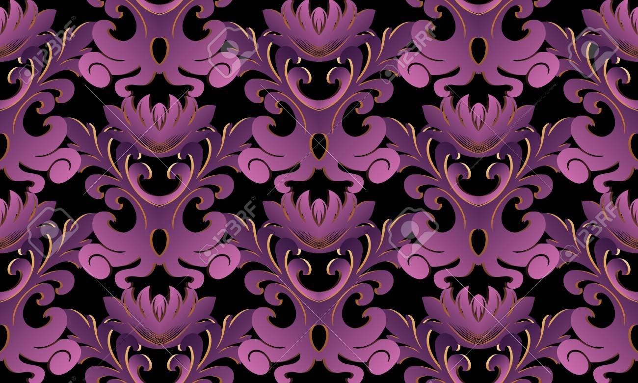 Violet 3d Baroque Seamless Pattern Vector Black Background