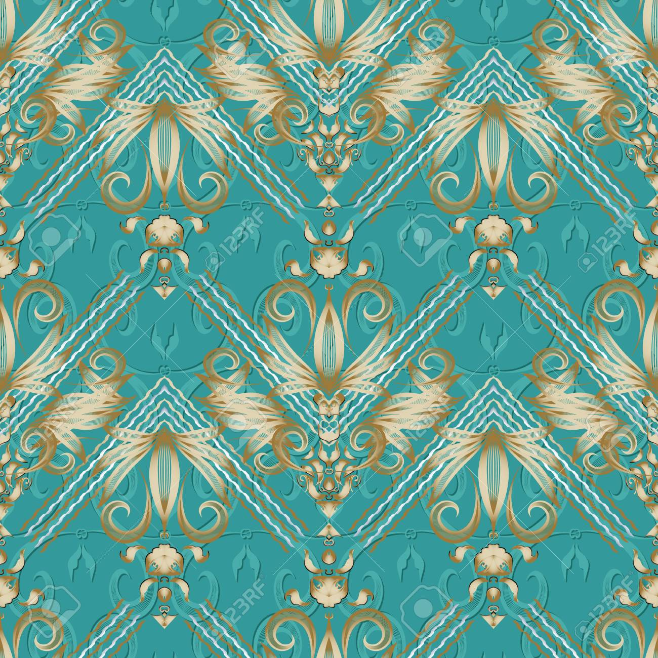 Vintage Floral Striped Seamless Pattern Turquoise Vector