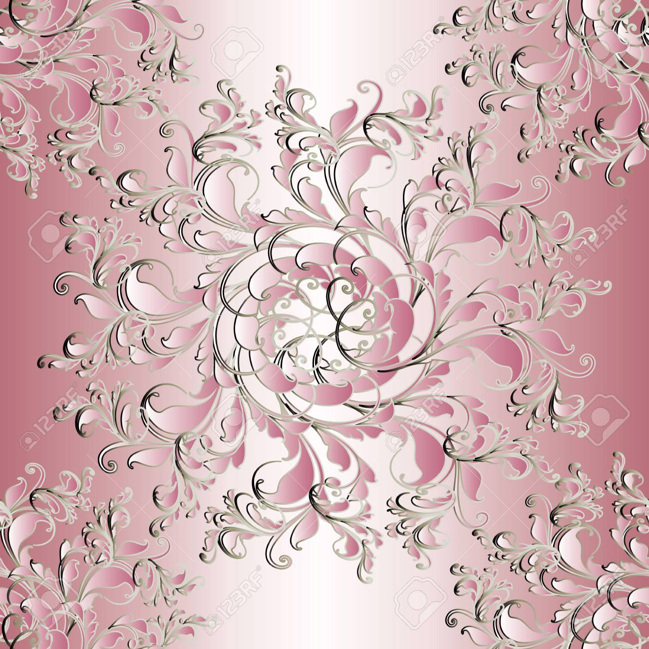 Floral Seamless Mandala Pattern Light Pink Background Wallpaper