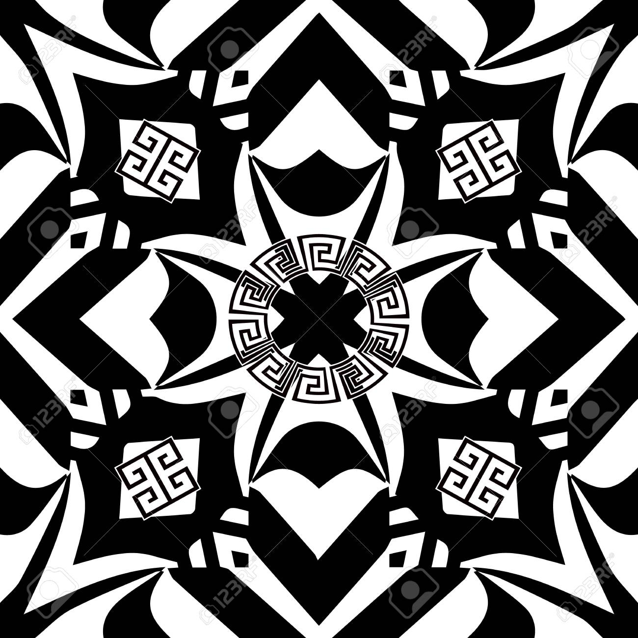 Geometric Greek Style Vector Seamless Pattern Abstract Black - Free form