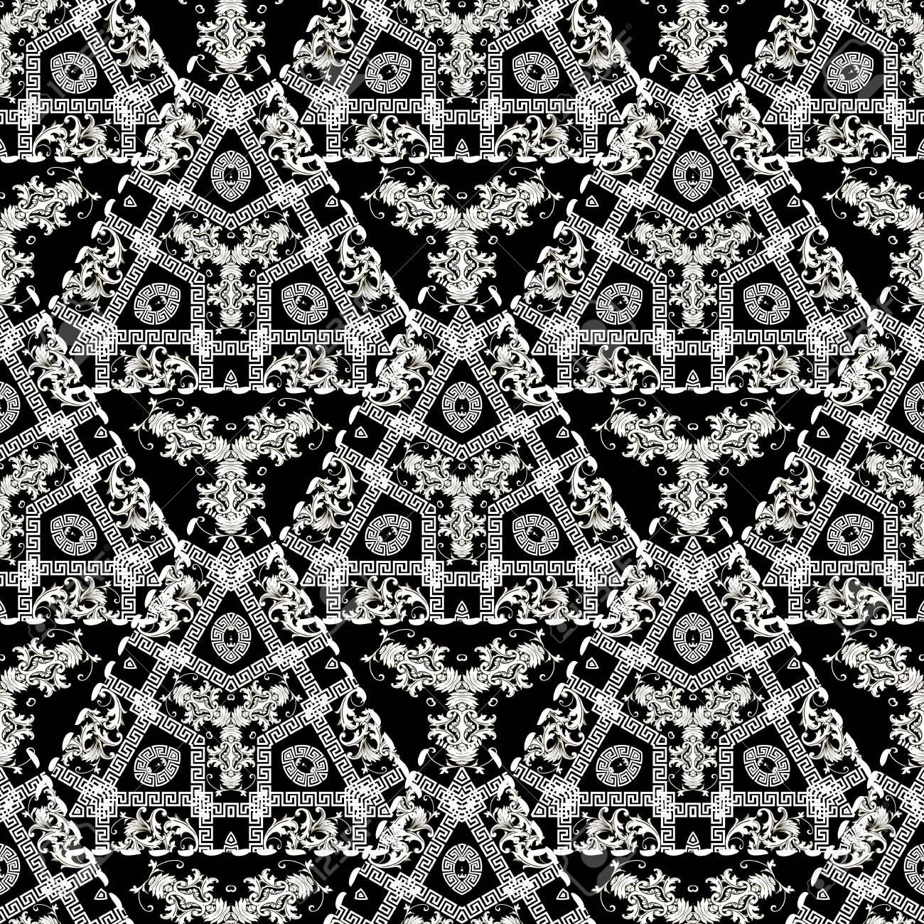 Geometric modern greek vector seamless pattern. Baroque ornamental floral background. Abstract black and white greek key meanders ornament with triangles, baroque vintage flowers, stitching lines. - 130405201