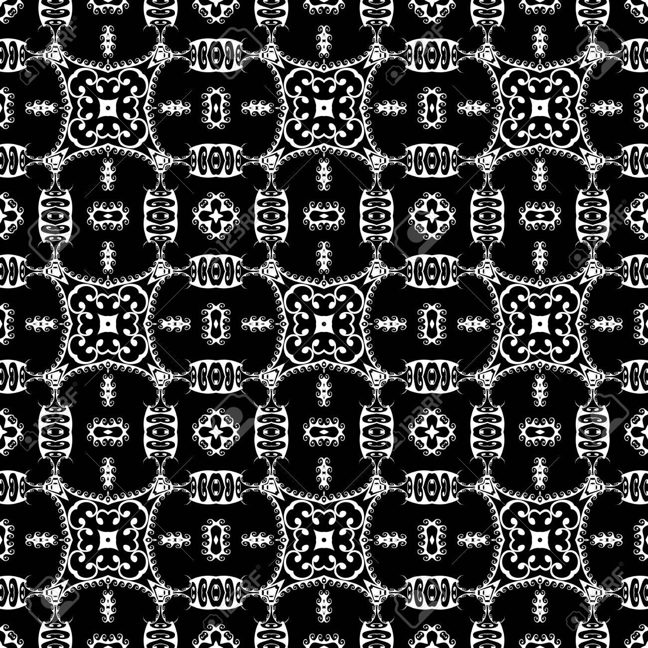 Greek tribal black and white vector seamless pattern. Floral ethnic style background. Repeat decorative monochrome backdrop. Abstract flowers, leaves, shapes, wave lines. Greek key meanders ornament. - 133141475