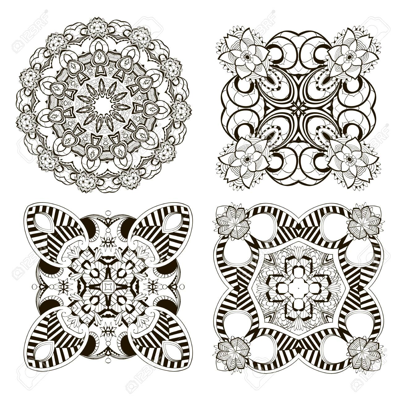 Mandalas set. Vector flowers collection. Floral background. Monochrome black and white ethnic style decorative ornaments. Ornamental isolated design. For cards, prints, fabric, textile, decoration. - 133141520