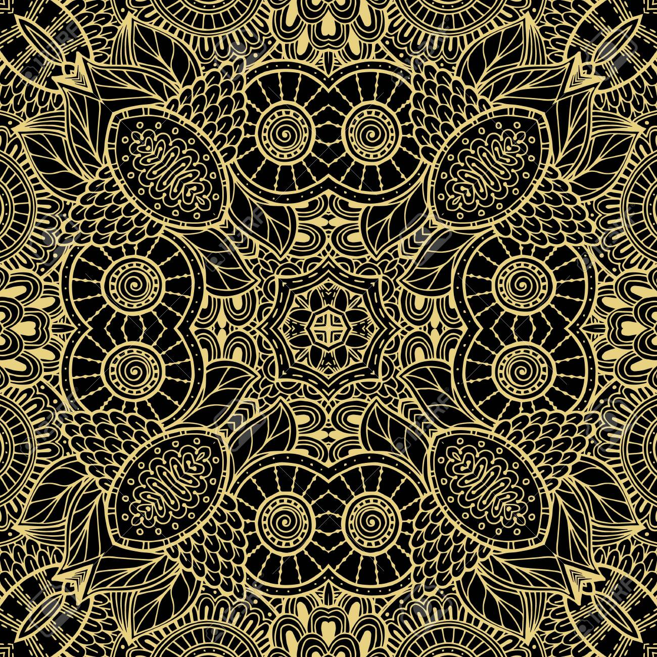 Floral lines vector seamless pattern. Ornamental ethnic tribal style lace background. Doodle line art tracery lacy ornament. Abstract shapes, vintage flowers. Elegance ornate repeat fantasy backdrop. - 140027265