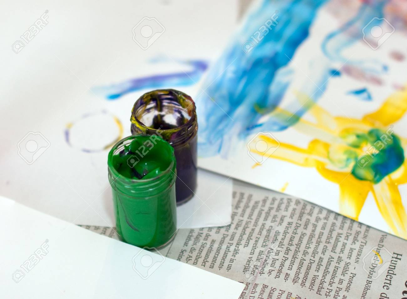 Colors for Fingerpainting in bottles, green and black Stock Photo - 5519256