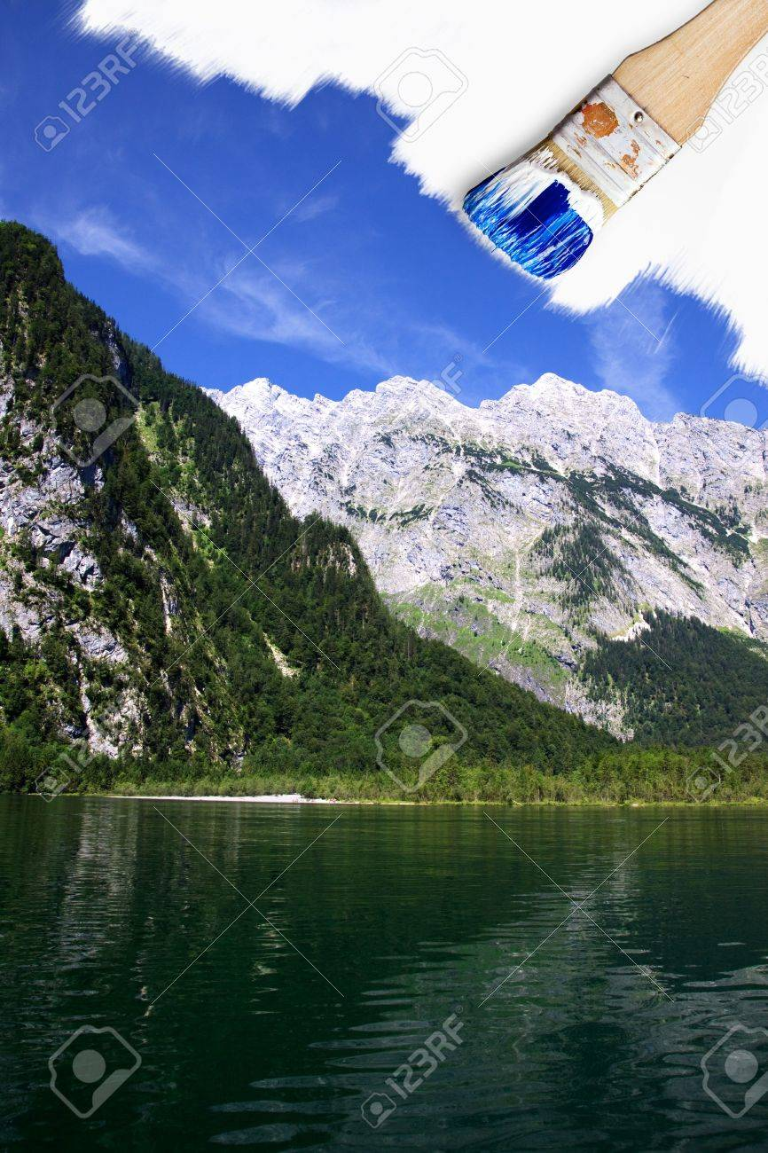 Painting a summer mountain and lake landscape with blue sky Stock Photo - 6618698