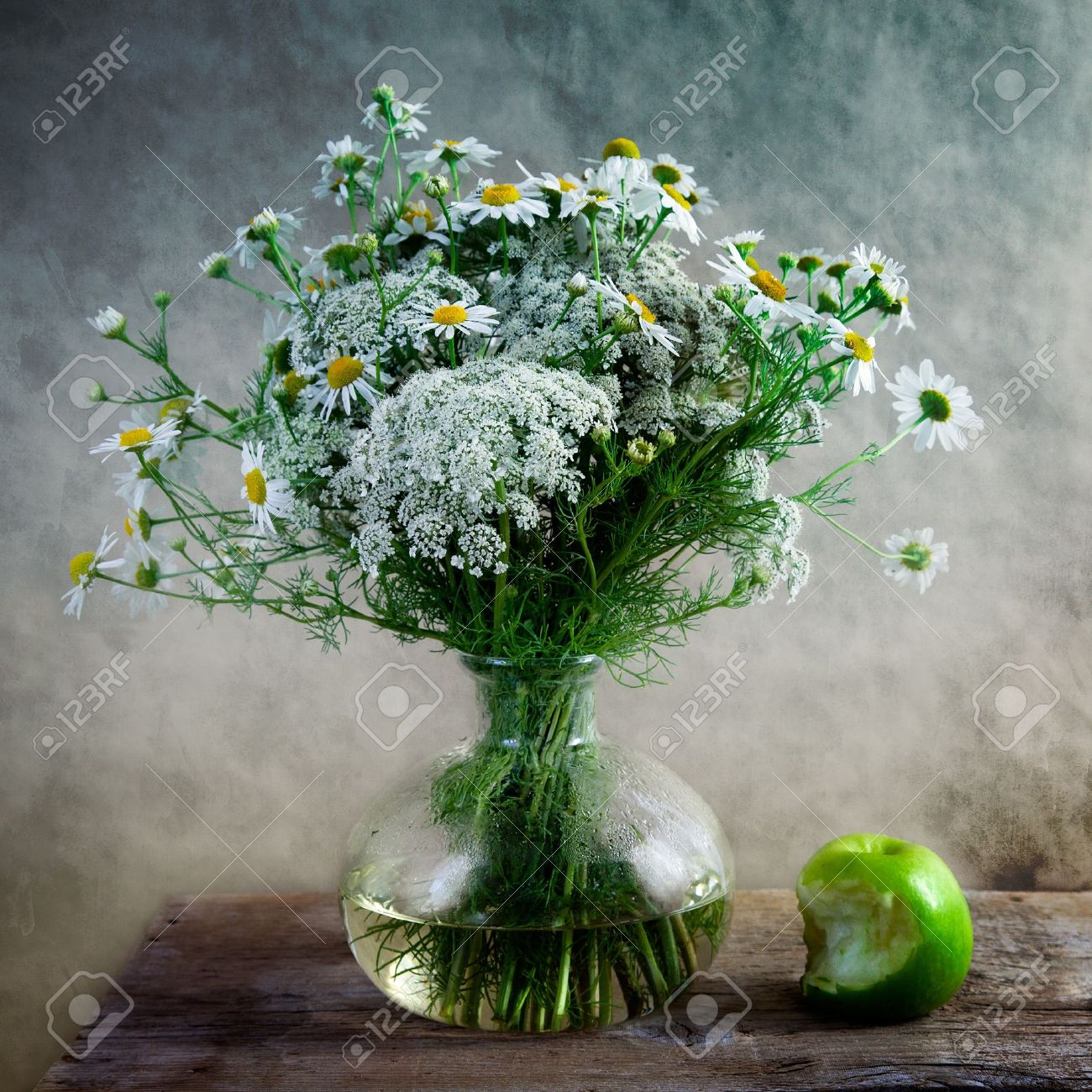 still life with apple and flowers in vase stock photo 7506271 - Flowers In Vase