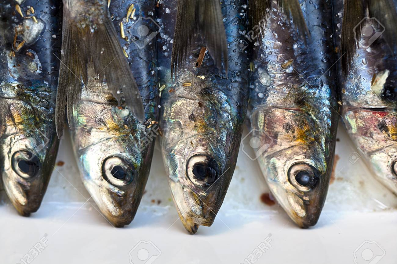 Sardines being prepared with sea salt and herbs Stock Photo - 10333975