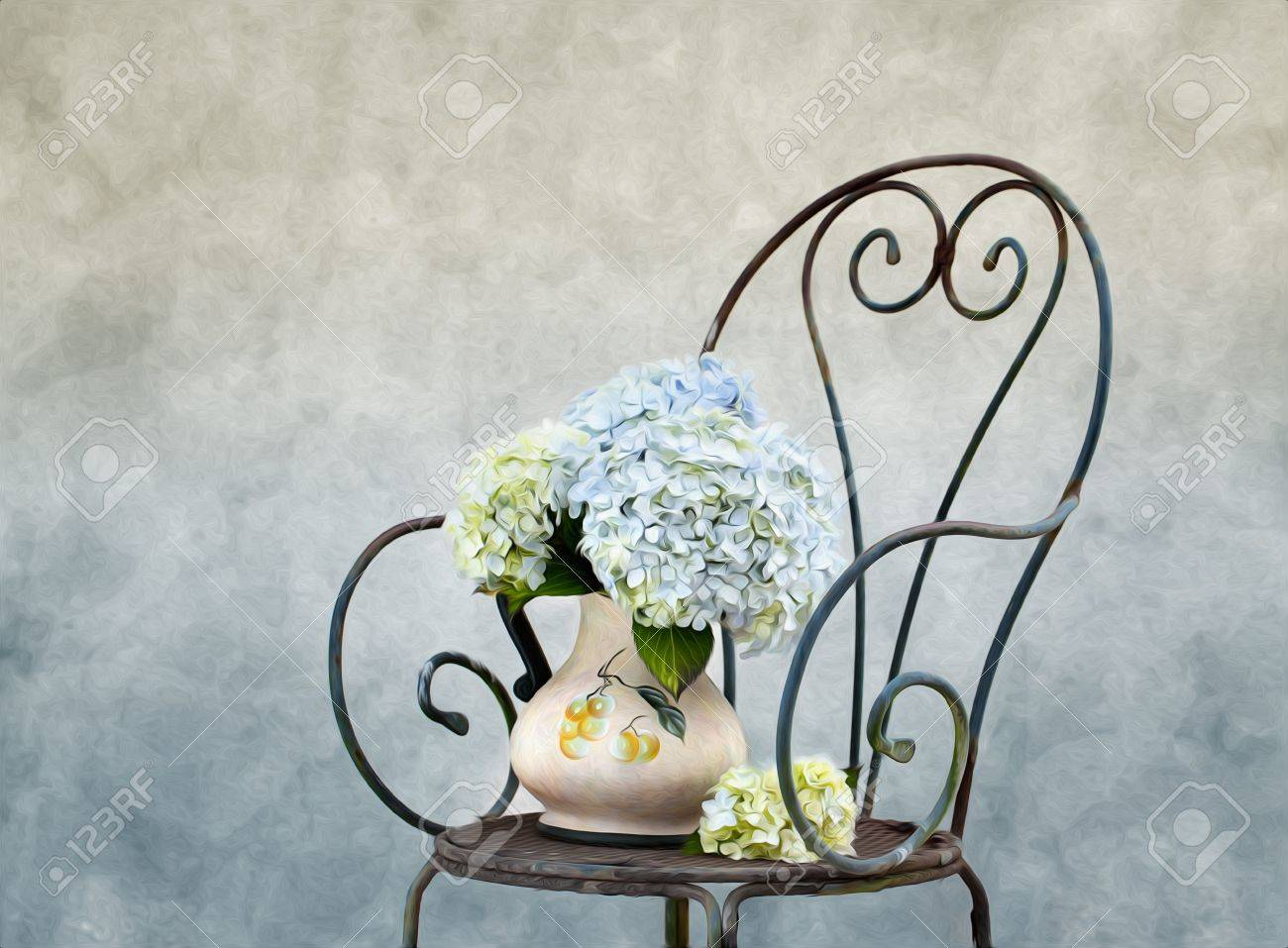 Still Life illustration with Hortensia Flowers in Oil Painting Style Stock Photo - 10418701