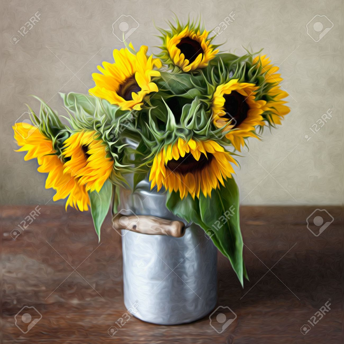 Sunflowers in Oil Painting