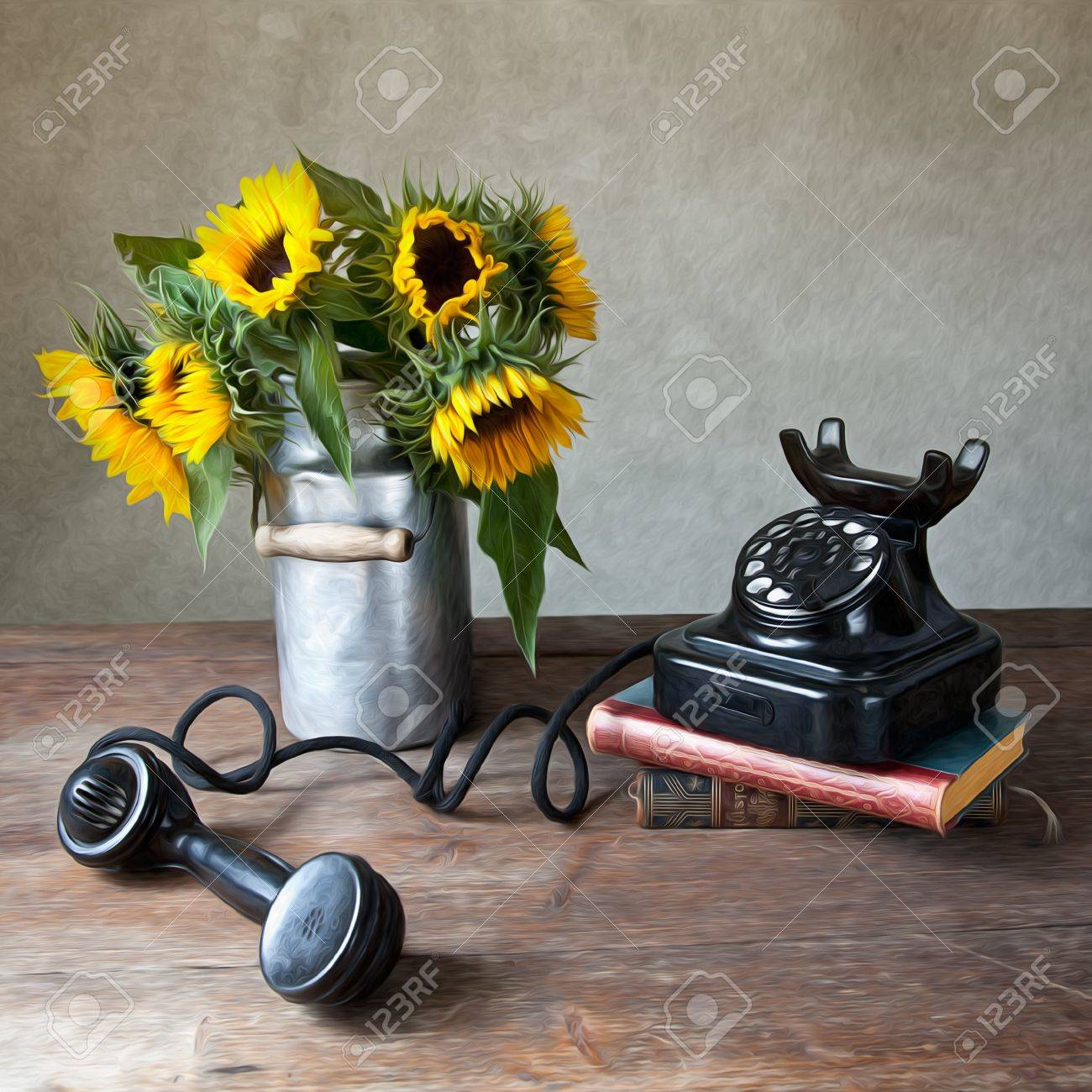 Still Life Illustration with Sunflowers and antique black Telephone in Oil Painting Style Stock Photo - 10418725