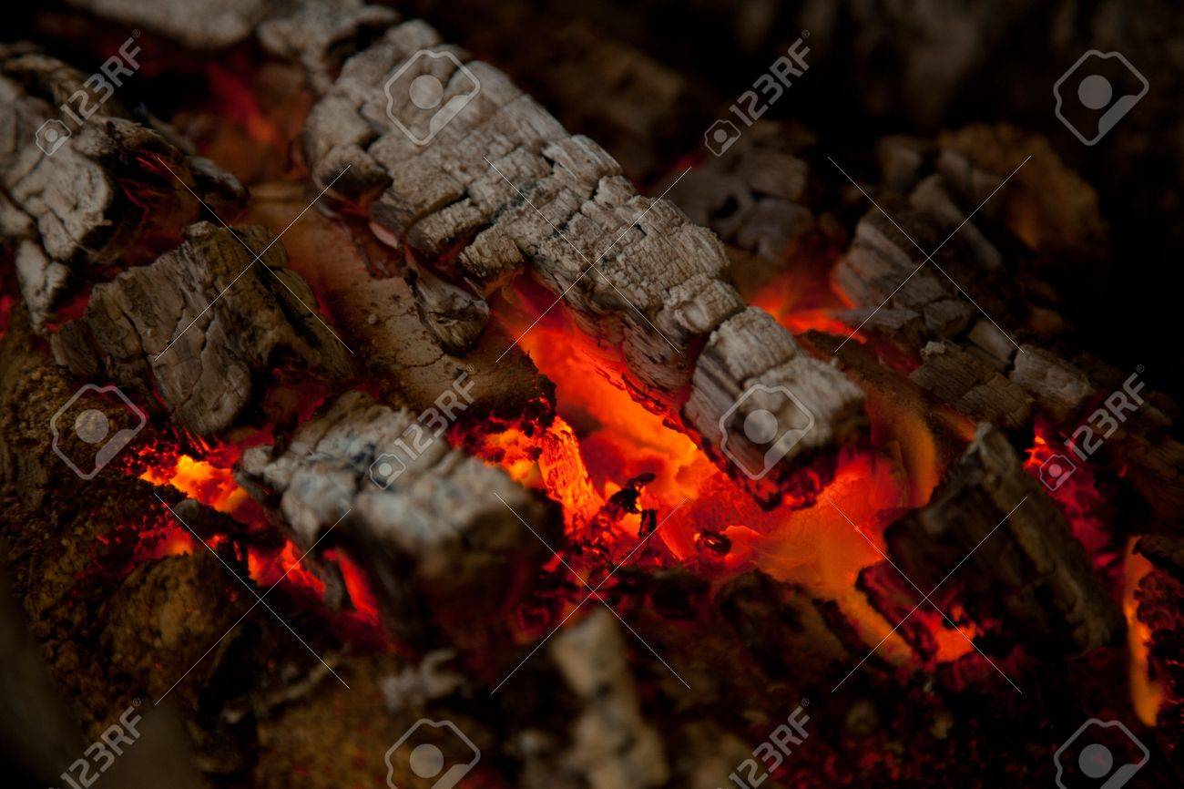 Glowing Embers From Burned Down Fire In Fireplace Stock Photo ...