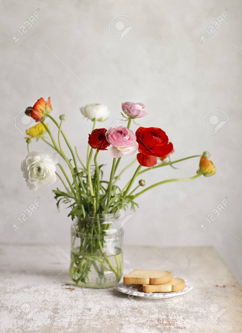 Studio Still Life with beautiful Persian Buttercup Flowers Stock Photo - 12944325