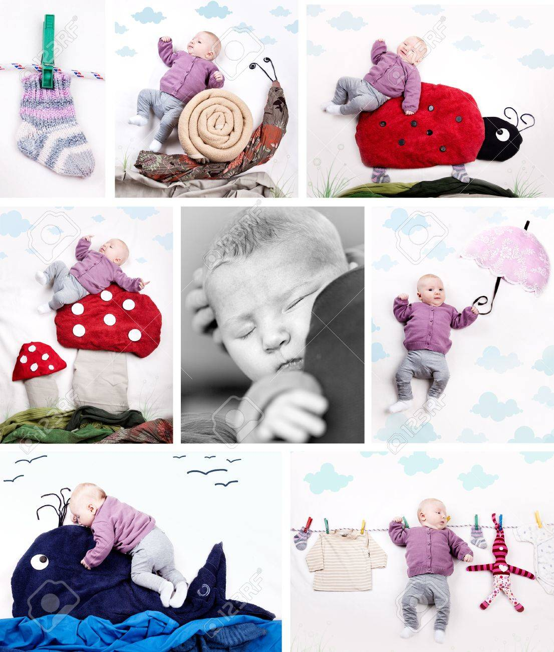 Collage of different baby pictures of 4 month old girl Stock Photo - 13622282