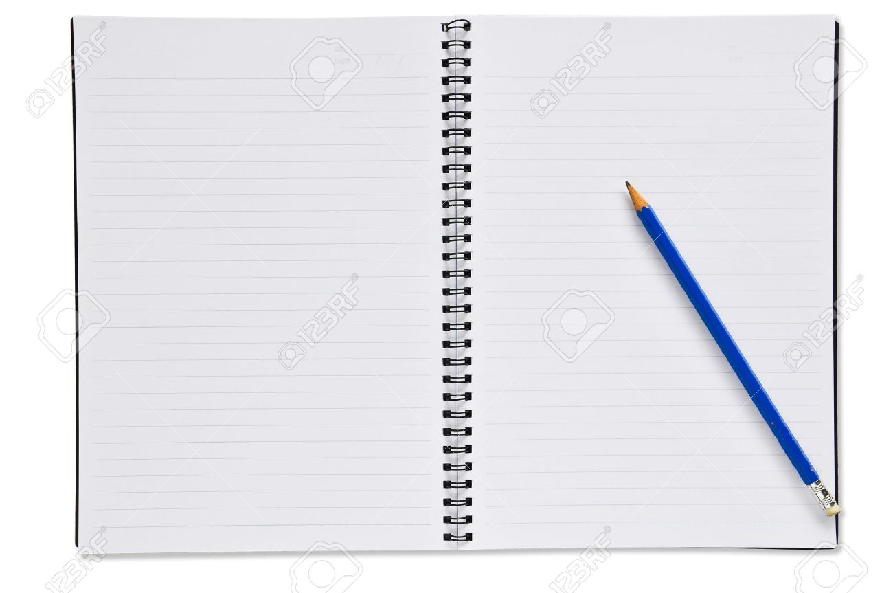 open spiral notebook with blue pencil blank paper stock photo