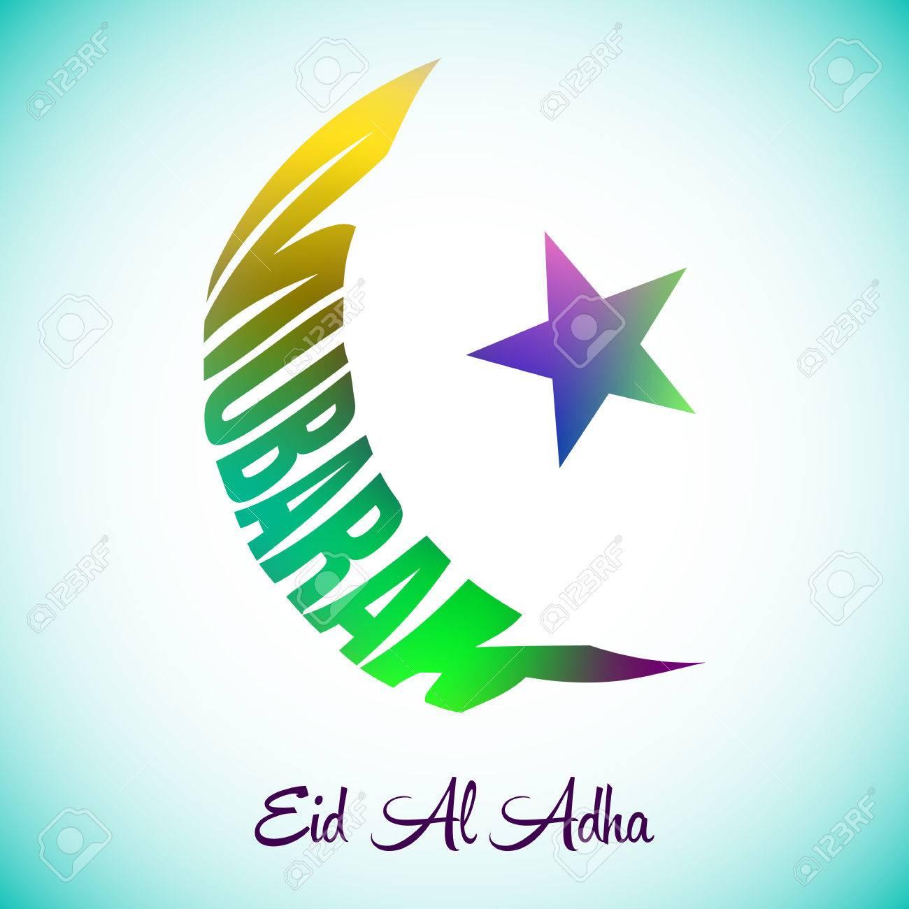 Vector illustration with eid al adha mubarak greeting card vector vector illustration with eid al adha mubarak greeting card backgroundlamic half moon mubarak colorful lettering background m4hsunfo