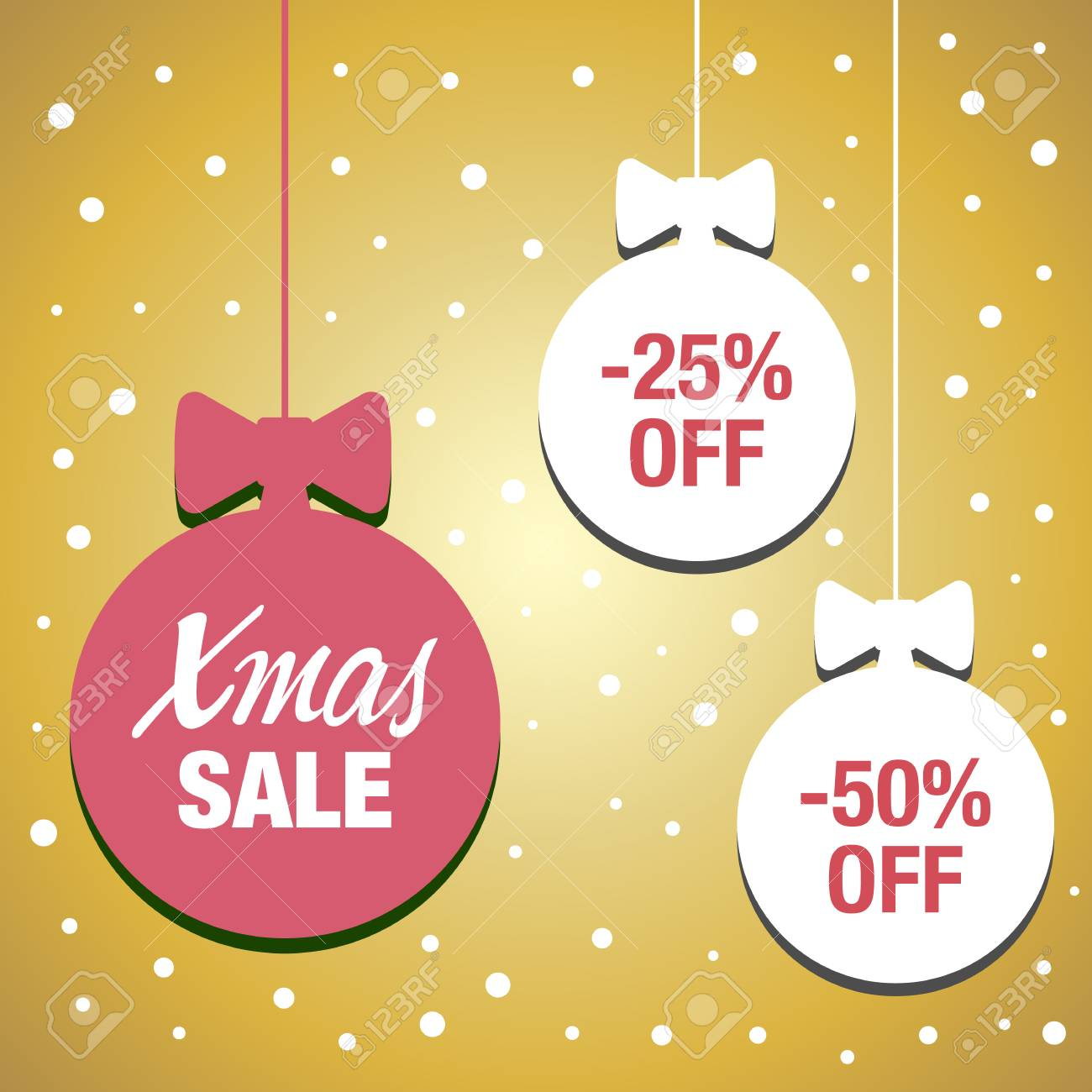 Christmas Balls Sale. Xmas Sale Background. Winter Holiday Discount ...