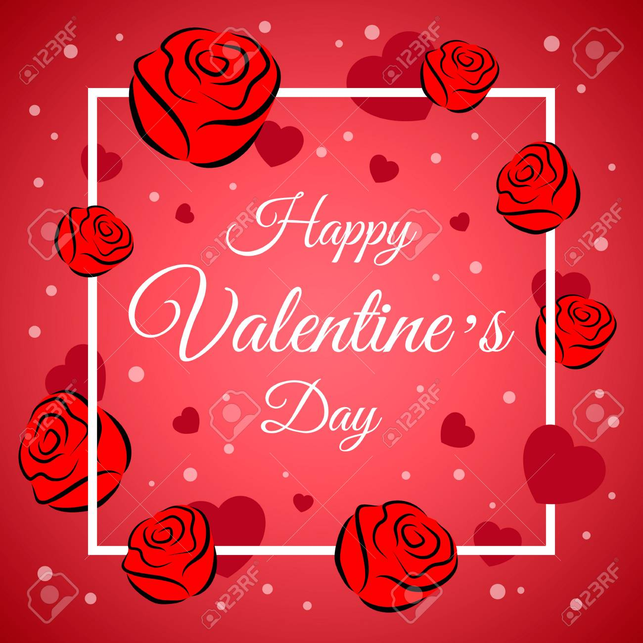 Vector Illustration With Happy Valentines Day Greeting Card On