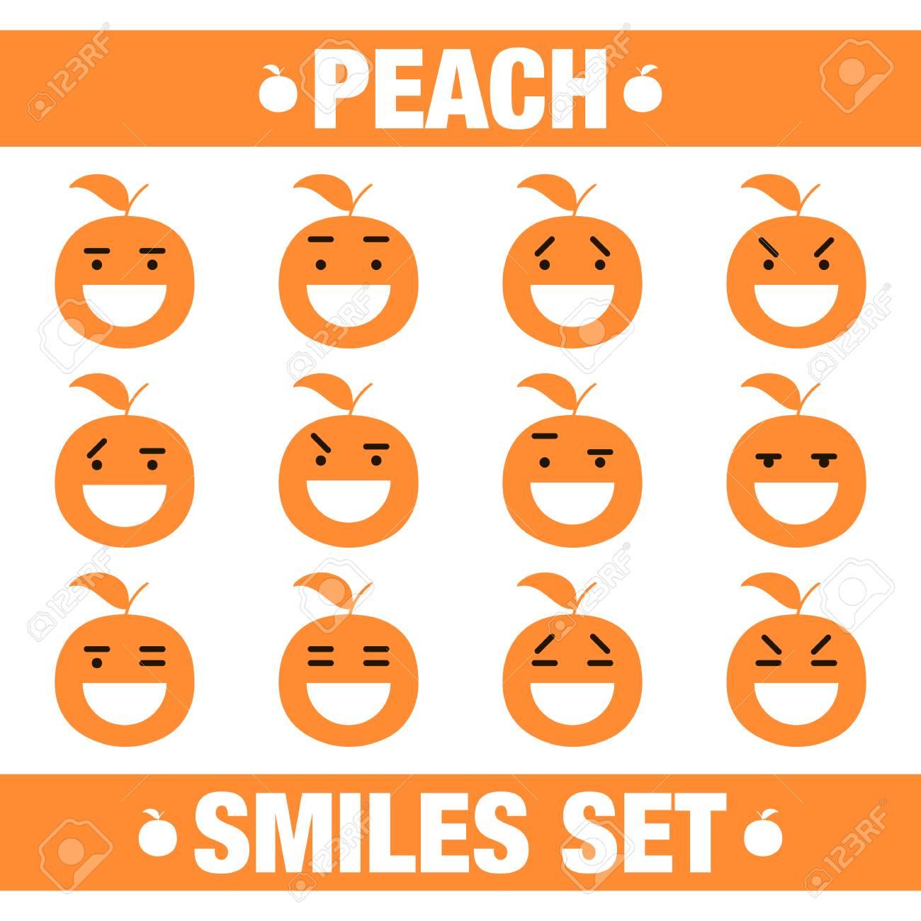 ベクトル イラスト白背景に面白い桃フラット文字笑顔セットを かわいいフラット桃笑顔文字セットのイラスト素材 ベクタ Image