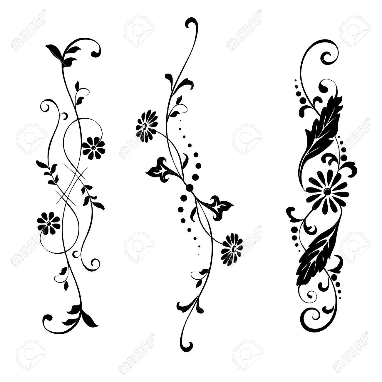 Elementos Del Vector Conjunto De Flores De Diseo Y Adornos Florales