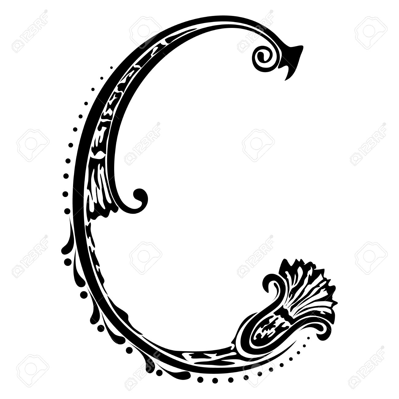 Initial Letter C On A White Background Royalty Free Cliparts