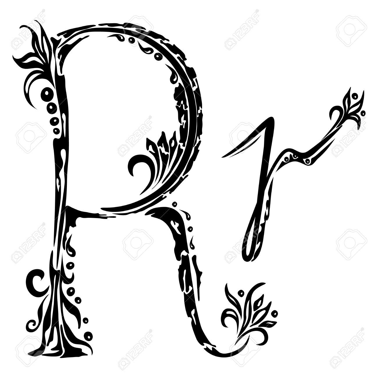 Cursive Letter R Tattoo