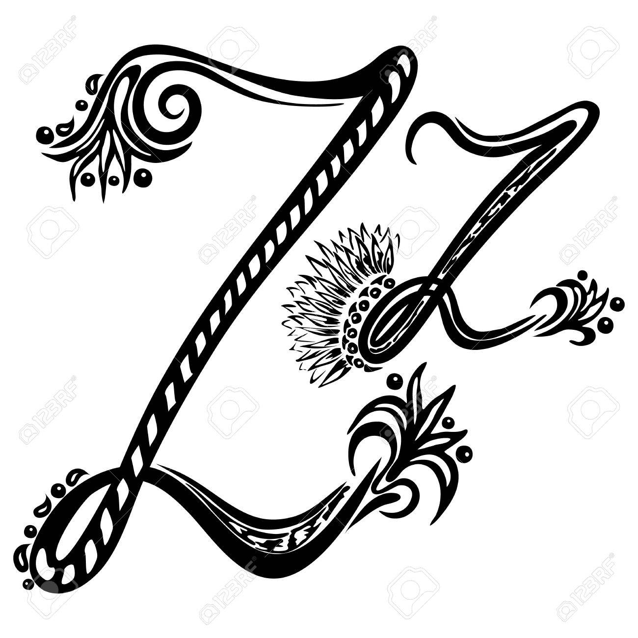 Worksheet Cursive Letter Z letter z in the style of abstract floral pattern on a white background stock vector