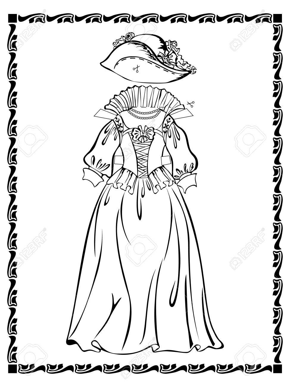Vintage outfit lady dress with the basques and hat. See other vintage outfits and doll in my portfolio Stock Vector - 15222468