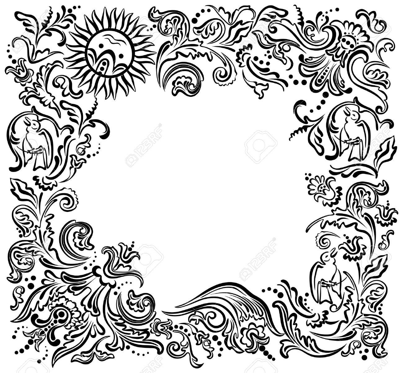 Flower Frame Black And White Flower Garden White Black