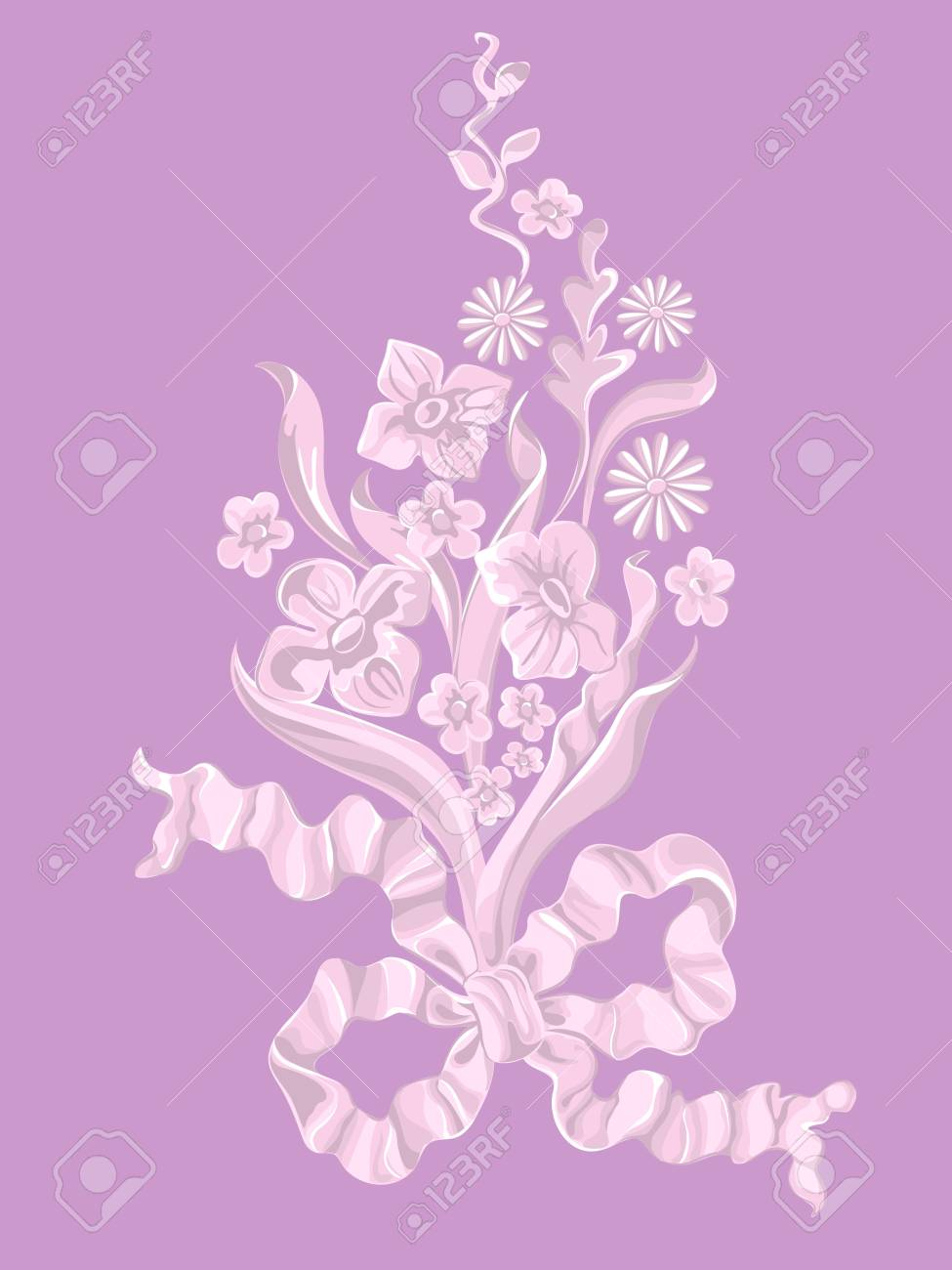 Bouquet of flowers with a bow. Stock Vector - 16556565
