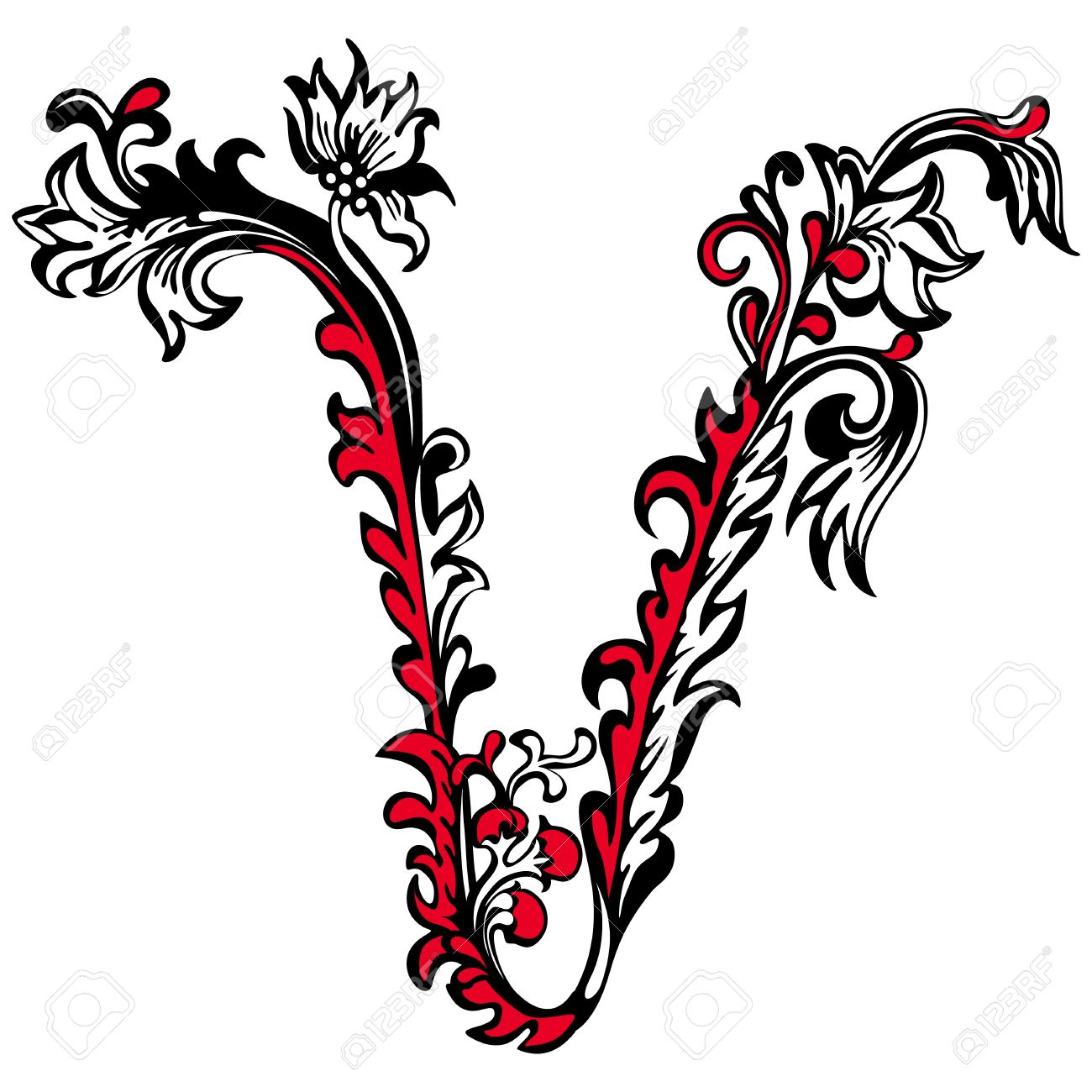 Letter V In Different Tattoo Styles 93126 Usbdata