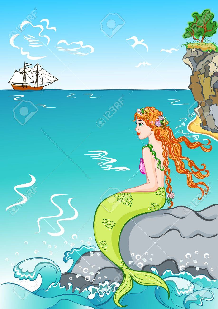 beautiful mermaid sitting on a rock watching the ship royalty