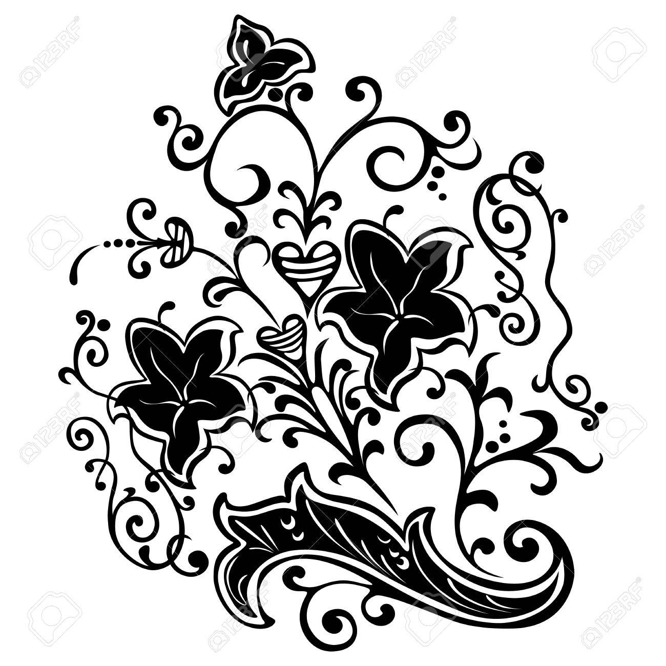 motif, swirling floral decorative elements Stock Vector - 17910498