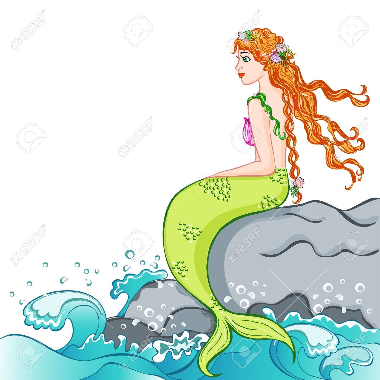 beautiful mermaid sitting on a rock royalty free cliparts