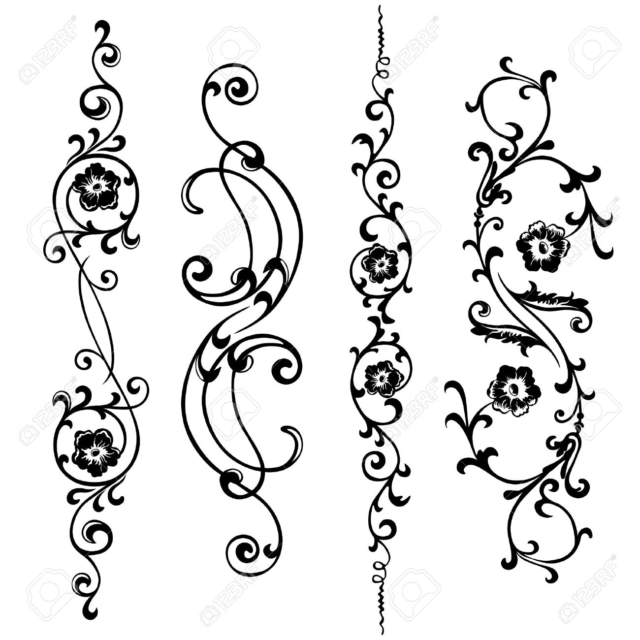 a set of swirling elements for design flowers and ornaments