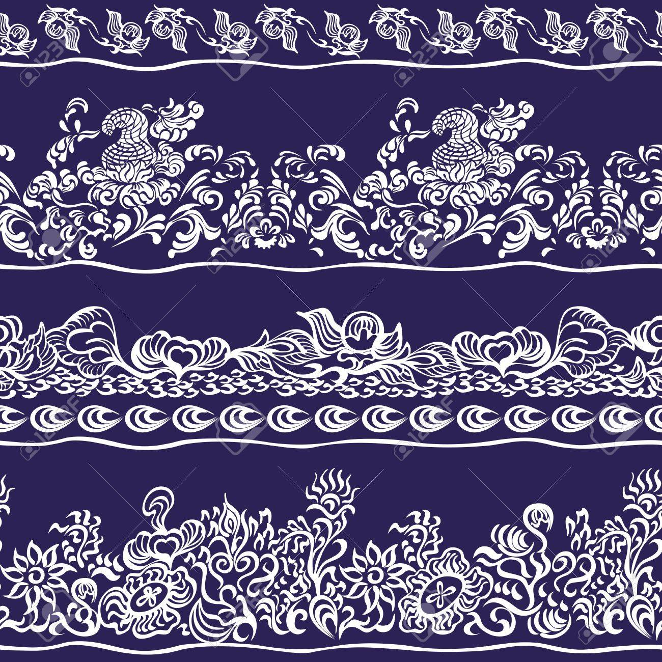 Design border, webbing, lace seamless pattern with swirling decorative floral elements. Edge of the fabric, wallpaper Stock Vector - 20035736