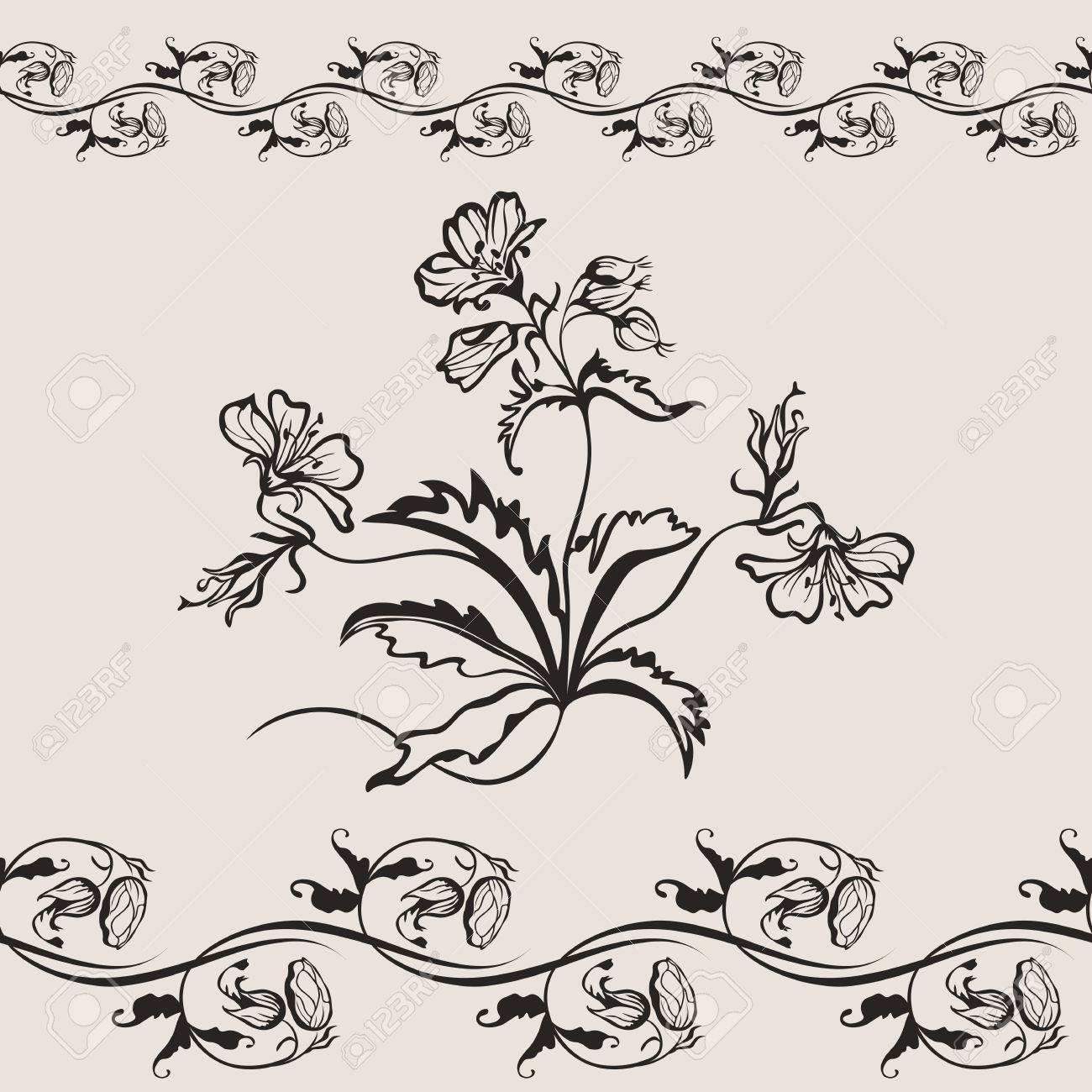 Dessin Motif Fleur Peinture Agrandi Seamless Banniere Clip Art