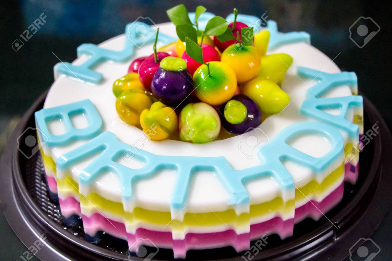 Rainbow Jelly Birthday Cake Thai Traditional Dessert Made From Sugar Gelatin And Coconut Milk Decorate With Look Choop