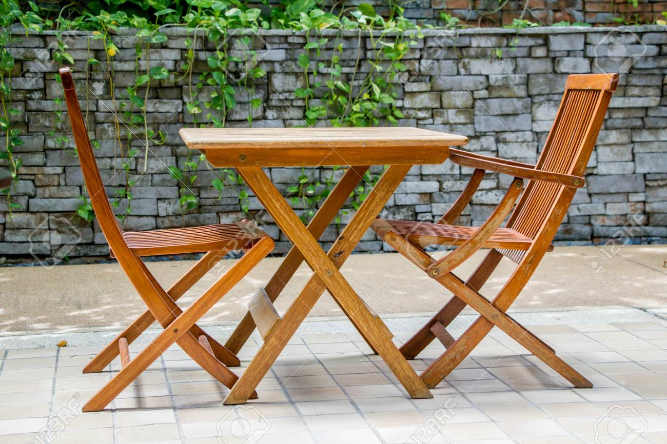 - Wooden Folding Beach Table And Chairs Stock Photo, Picture And