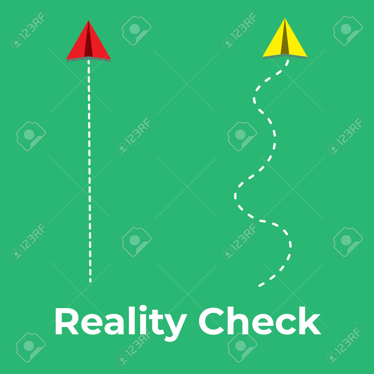 A vector of paper plane flying path with the word reality check. - 167056570
