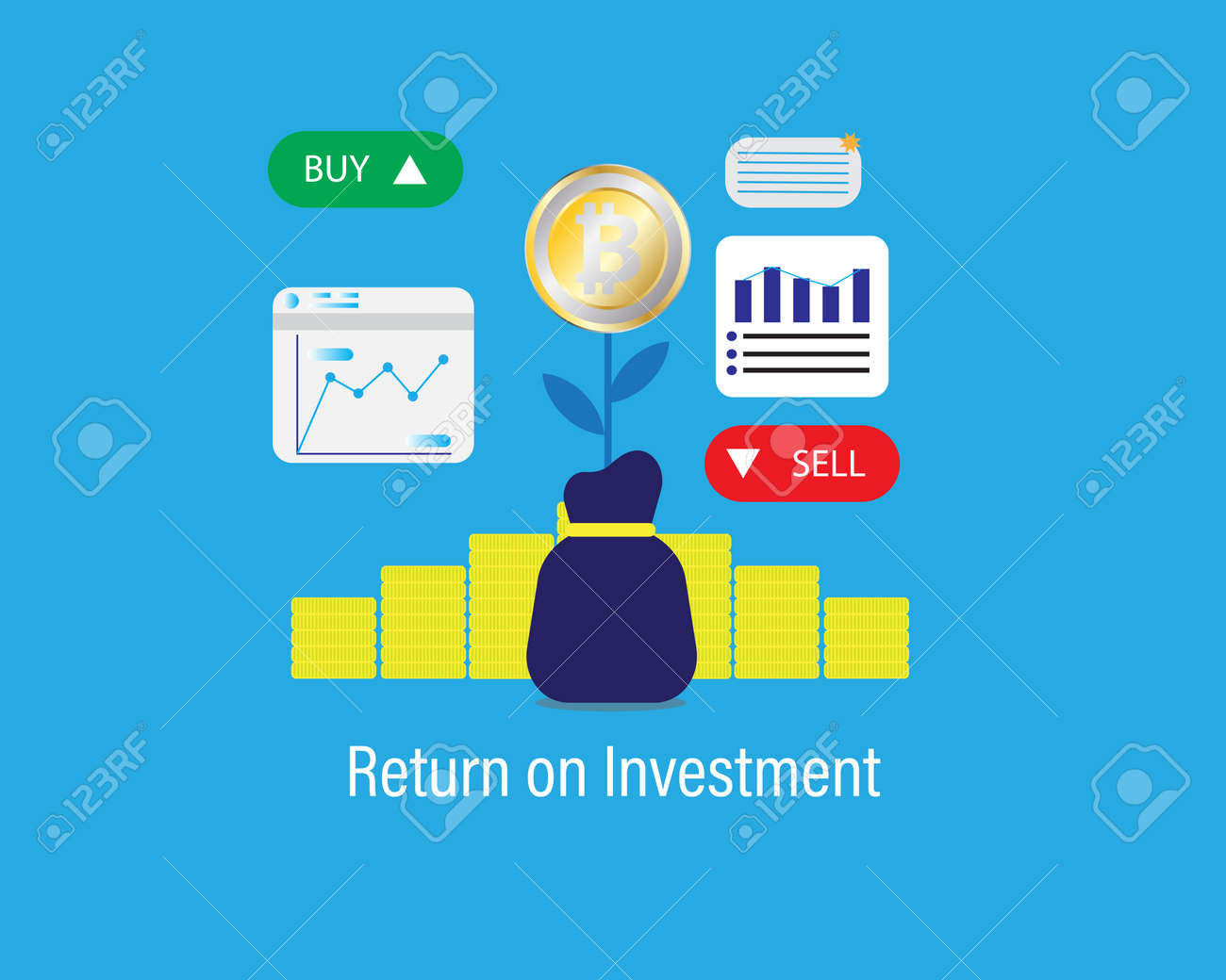 A vector of Bitcoin return on investment concept with business graph, buy and sell tab. Trading bitcoin is starting giving high return to investor. - 168719109
