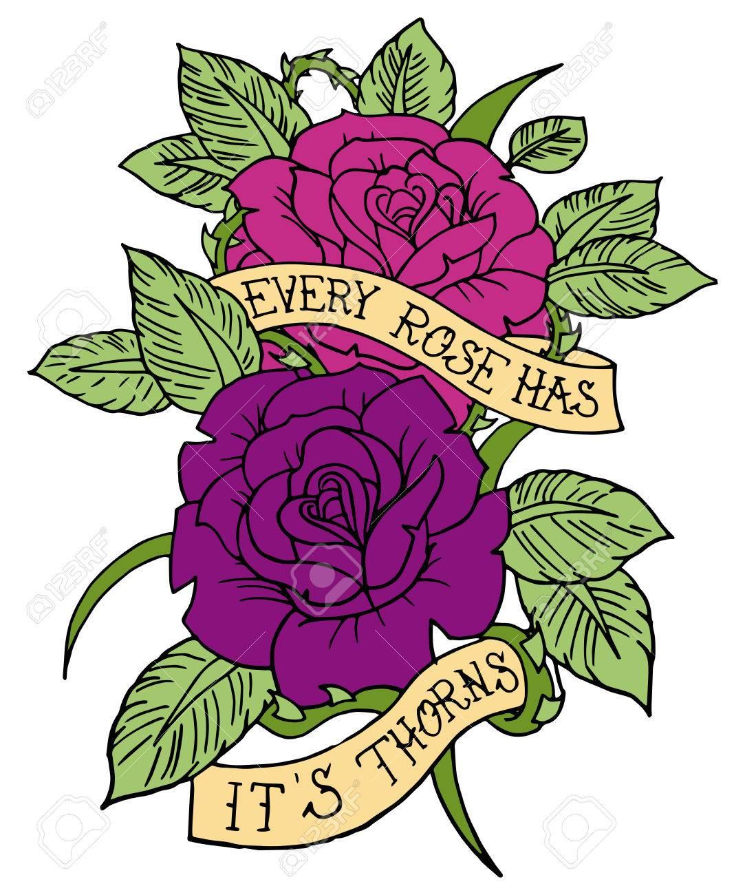 Rose Tattoo Design Vector Banner Design Romantic
