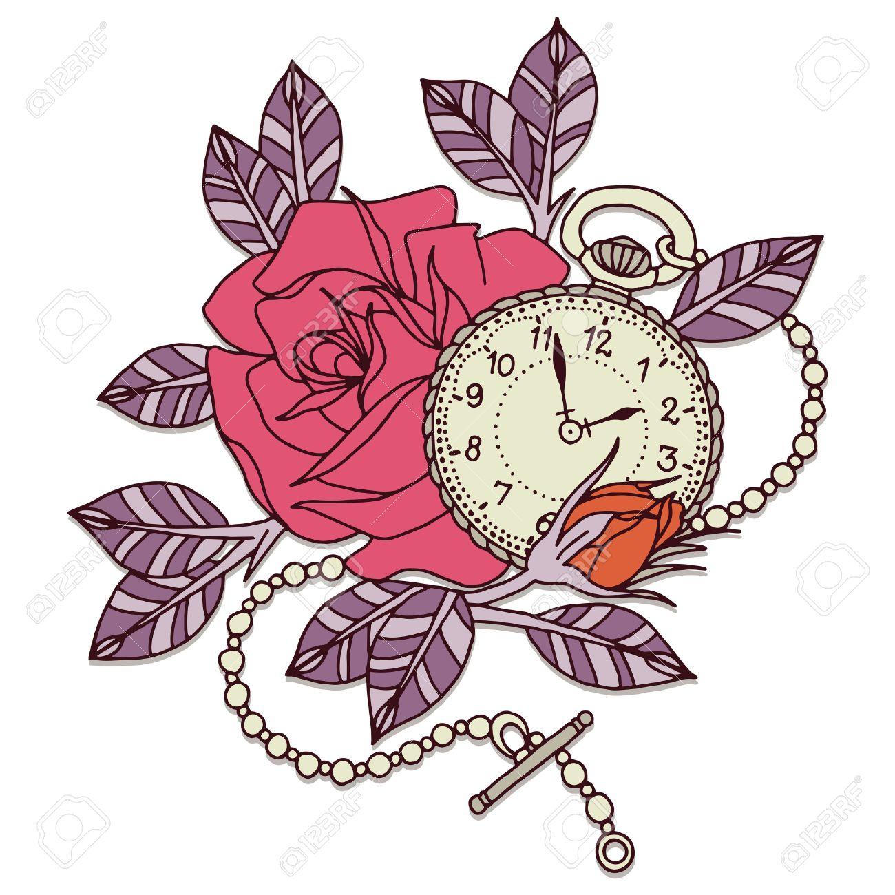 Clock Rose Tattoo Design Flower Vector Design