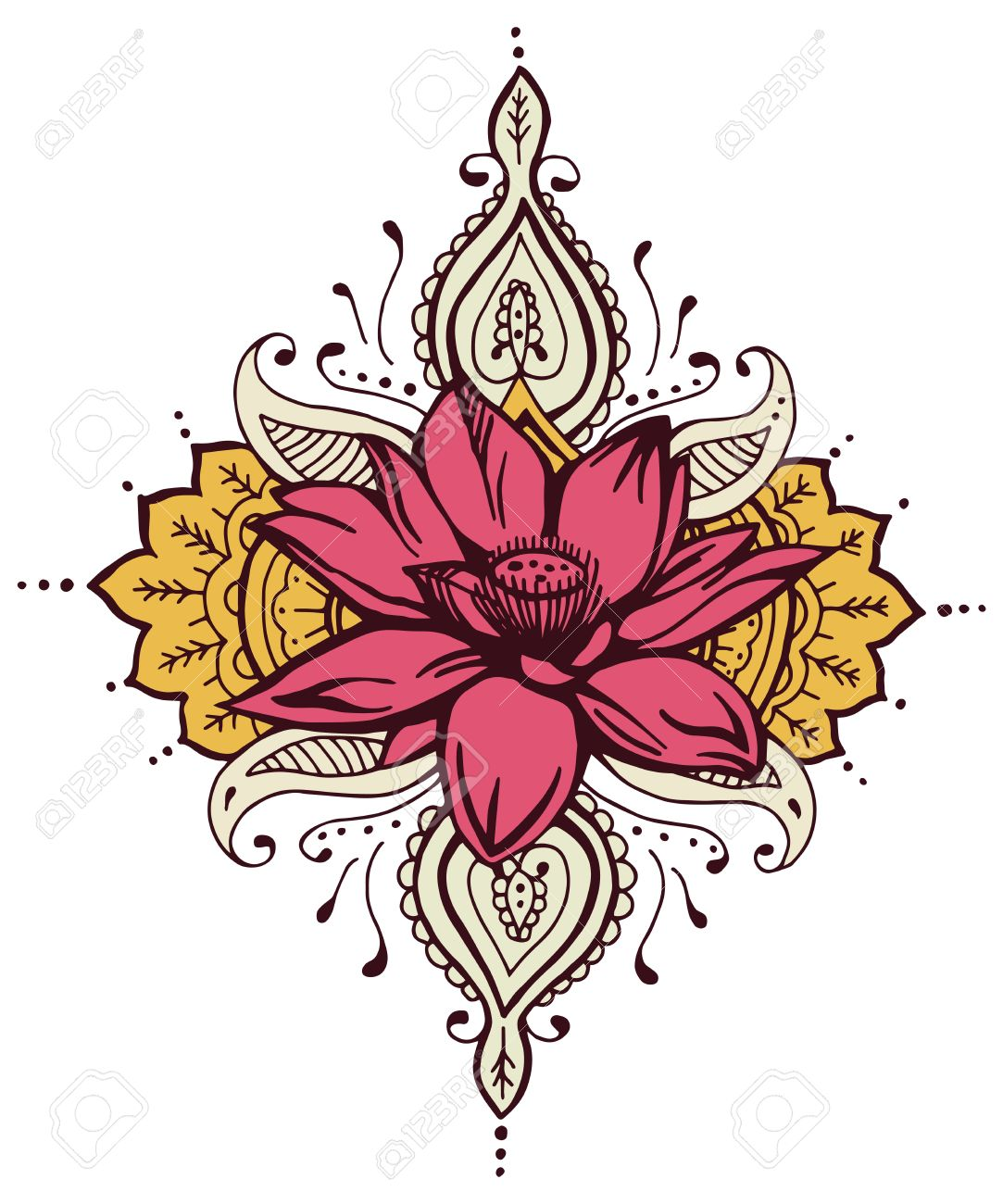 Paisley lotus flower henna design abstract henna royalty free paisley lotus flower henna design abstract henna stock vector 48582376 izmirmasajfo
