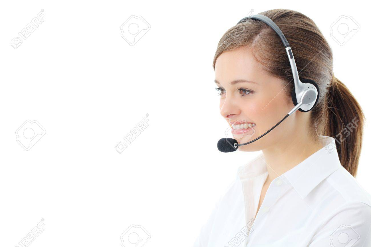 Support phone operator in headset, isolated on white Stock Photo - 13121425