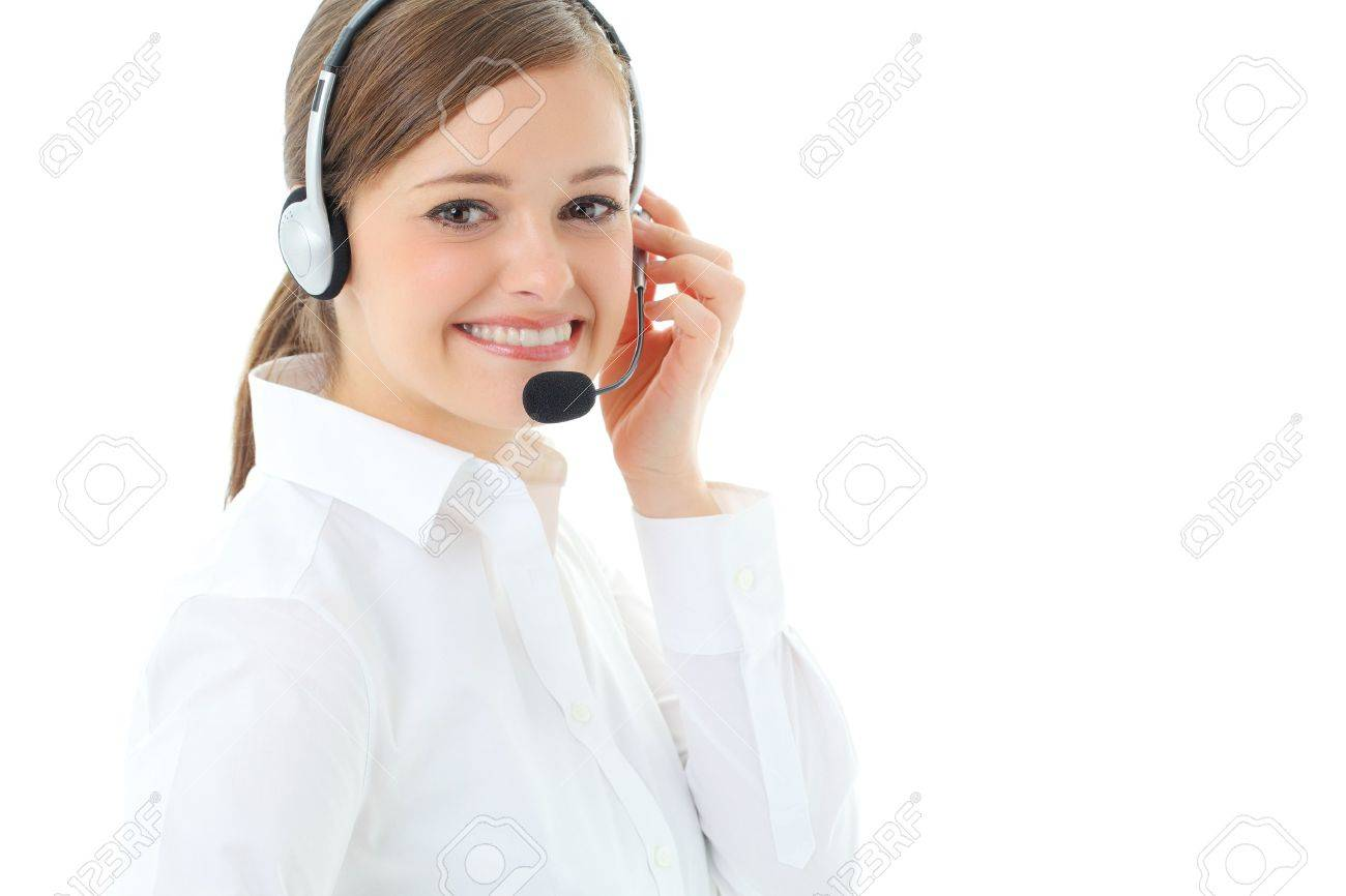 Support phone operator in headset, isolated on white Stock Photo - 13121419
